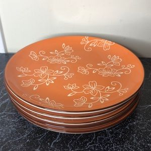 5 Temptations orange floral lace dinner plate set